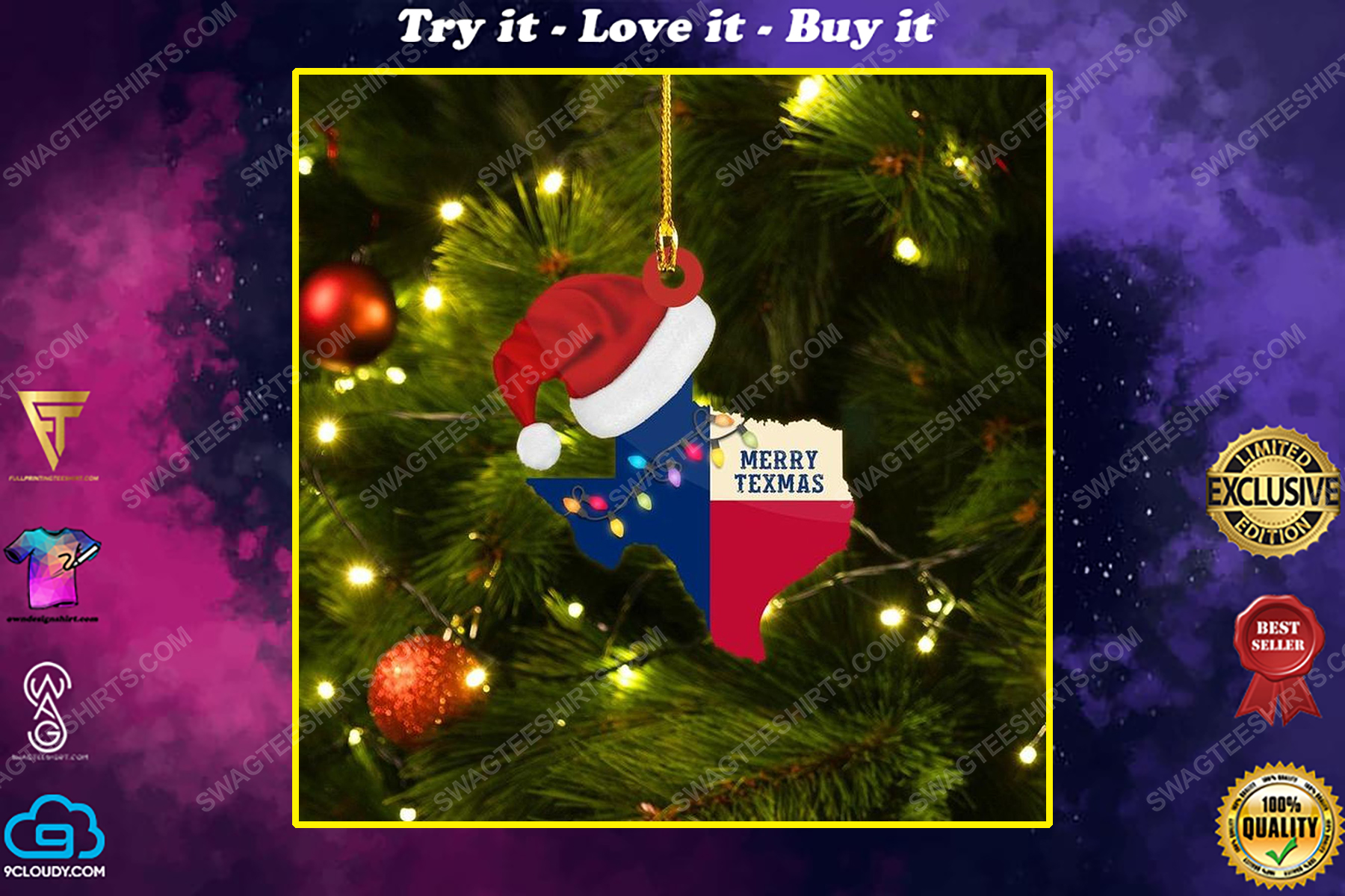 Merry texmas texas christmas gift ornament