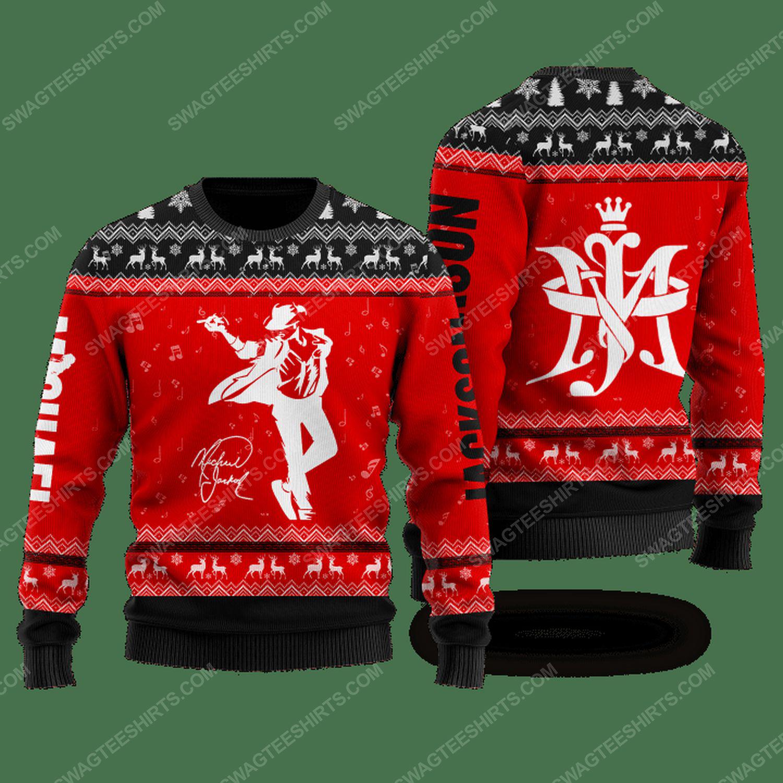 Michael jackson signature ugly christmas sweater - black