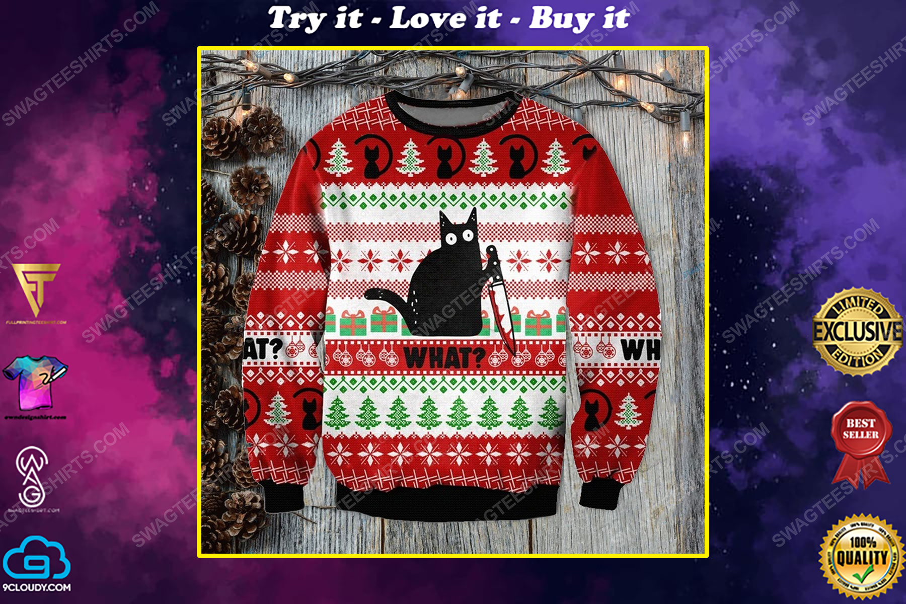 Murderous black cat with knife ugly christmas sweater 1