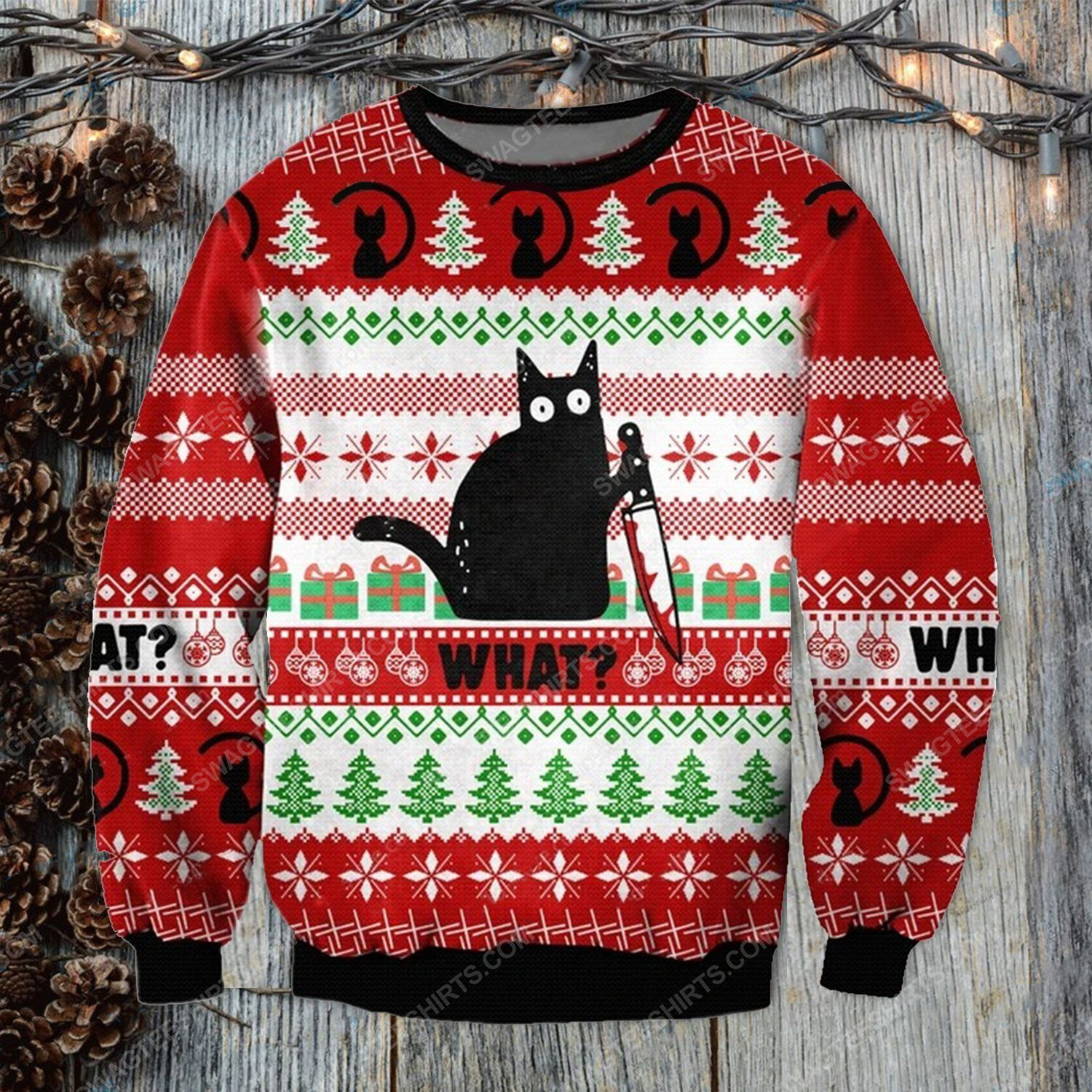 Murderous black cat with knife ugly christmas sweater