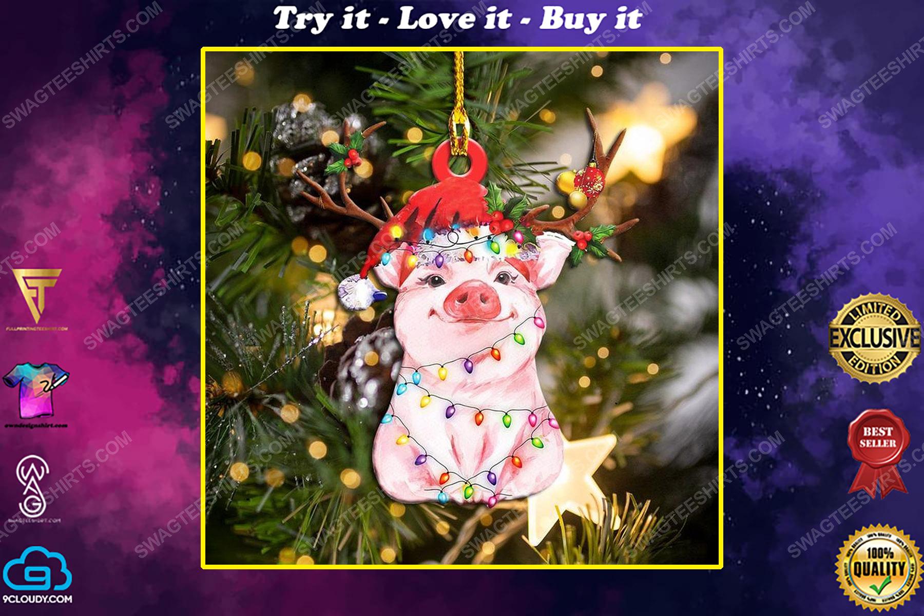 Pig and christmas light christmas gift ornament