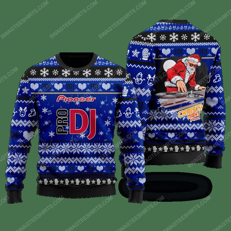 Pioneer pro dj santa claus ugly christmas sweater - navy