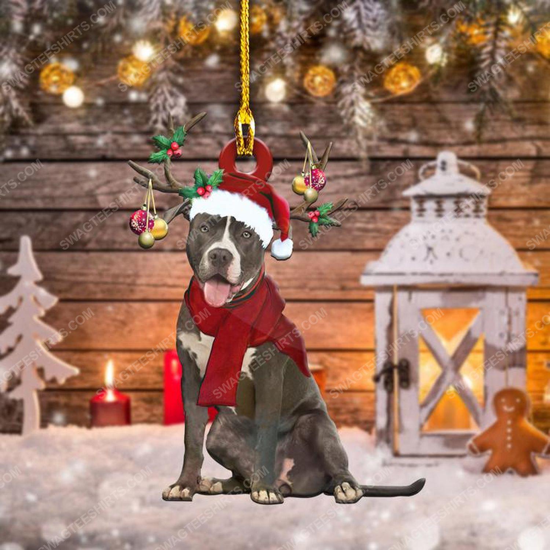 Pitbull dog and santa hat christmas gift ornament