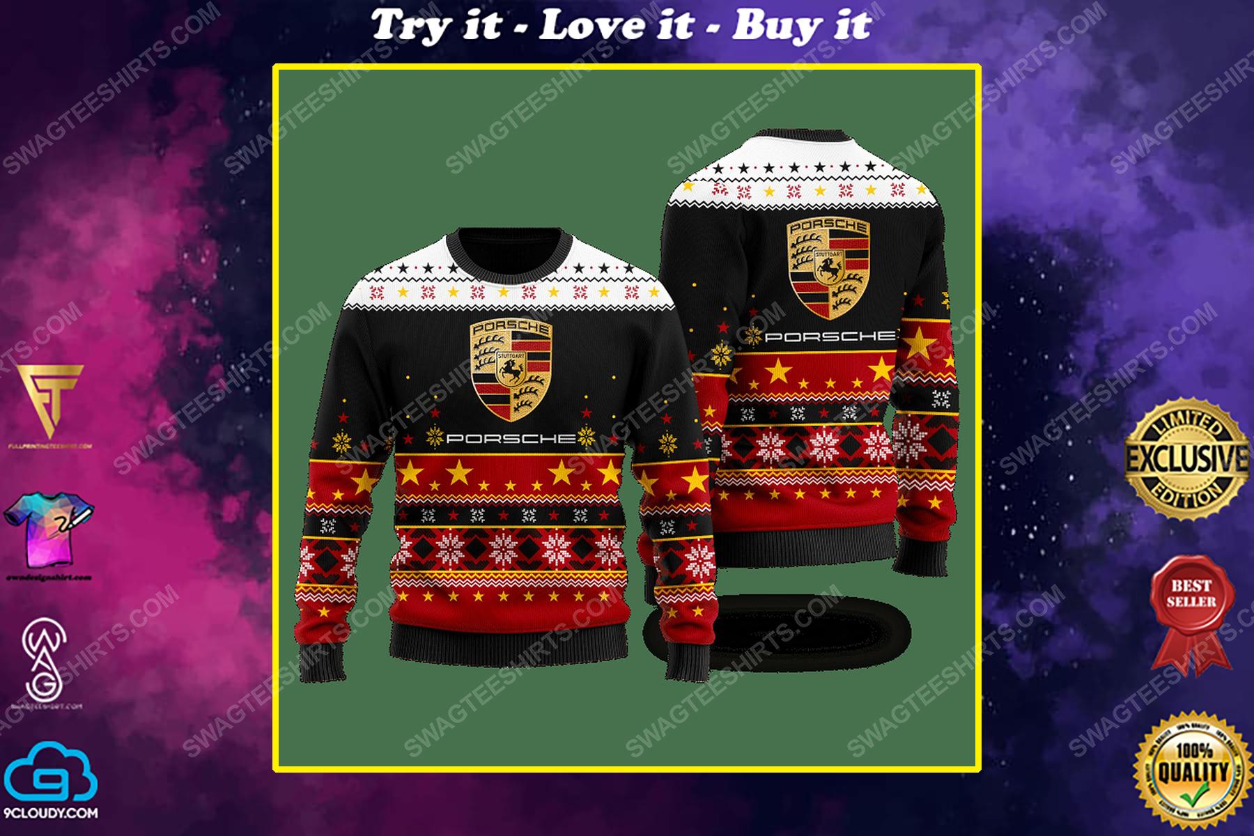 Porsche racing car ugly christmas sweater 1