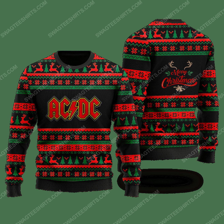 Rock band ac dc merry christmas ugly christmas sweater - black - Copy