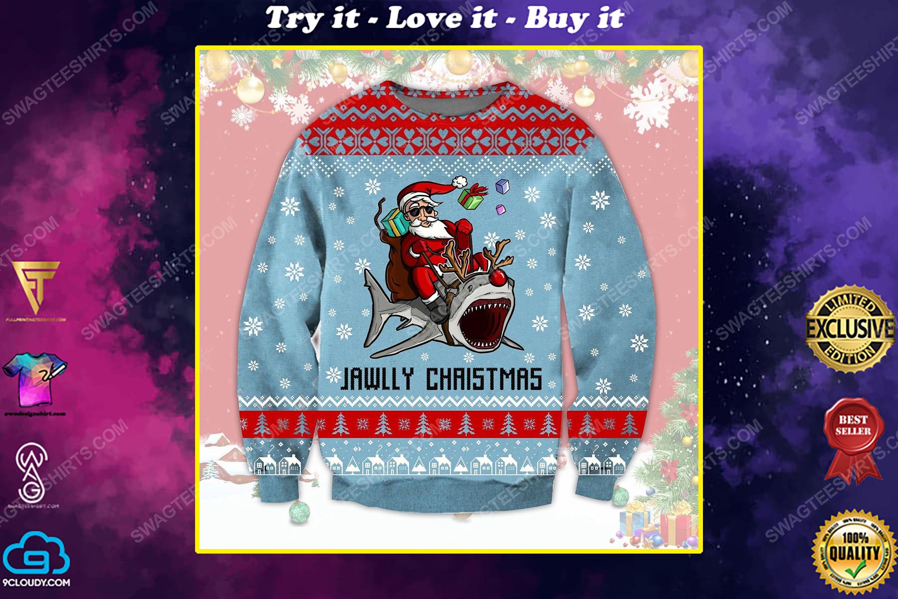 Santa riding shark jawlly christmas ugly christmas sweater 1