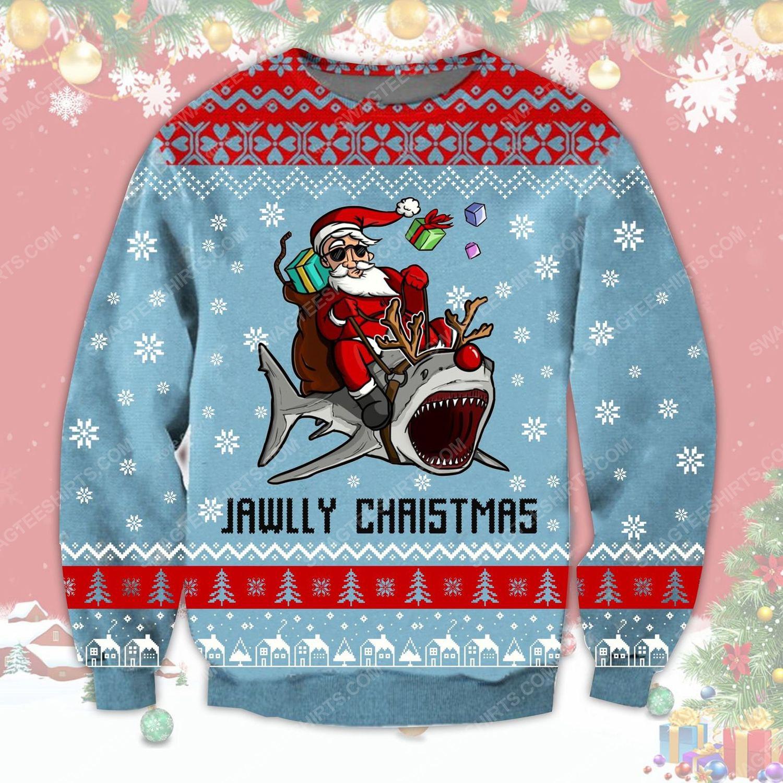Santa riding shark jawlly christmas ugly christmas sweater - Copy