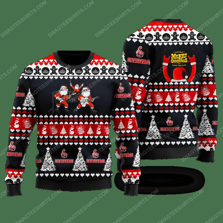 Scorpions rock band santa ugly christmas sweater - black