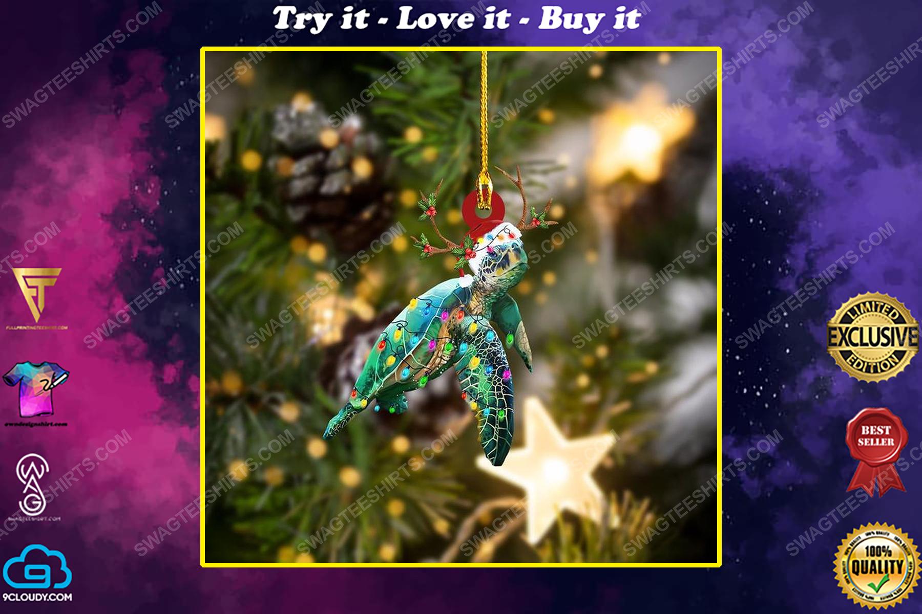 Sea turtle and christmas light christmas gift ornament