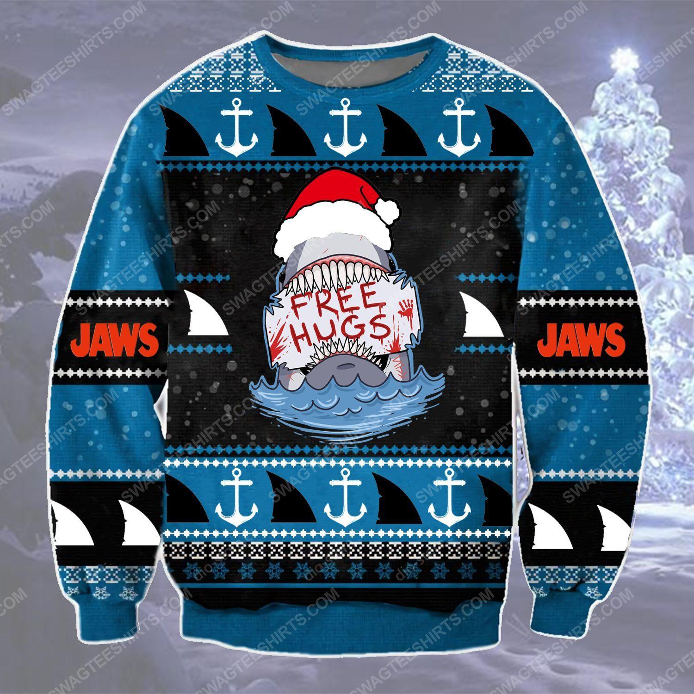 Shark with santa hat free hugs ugly christmas sweater - Copy