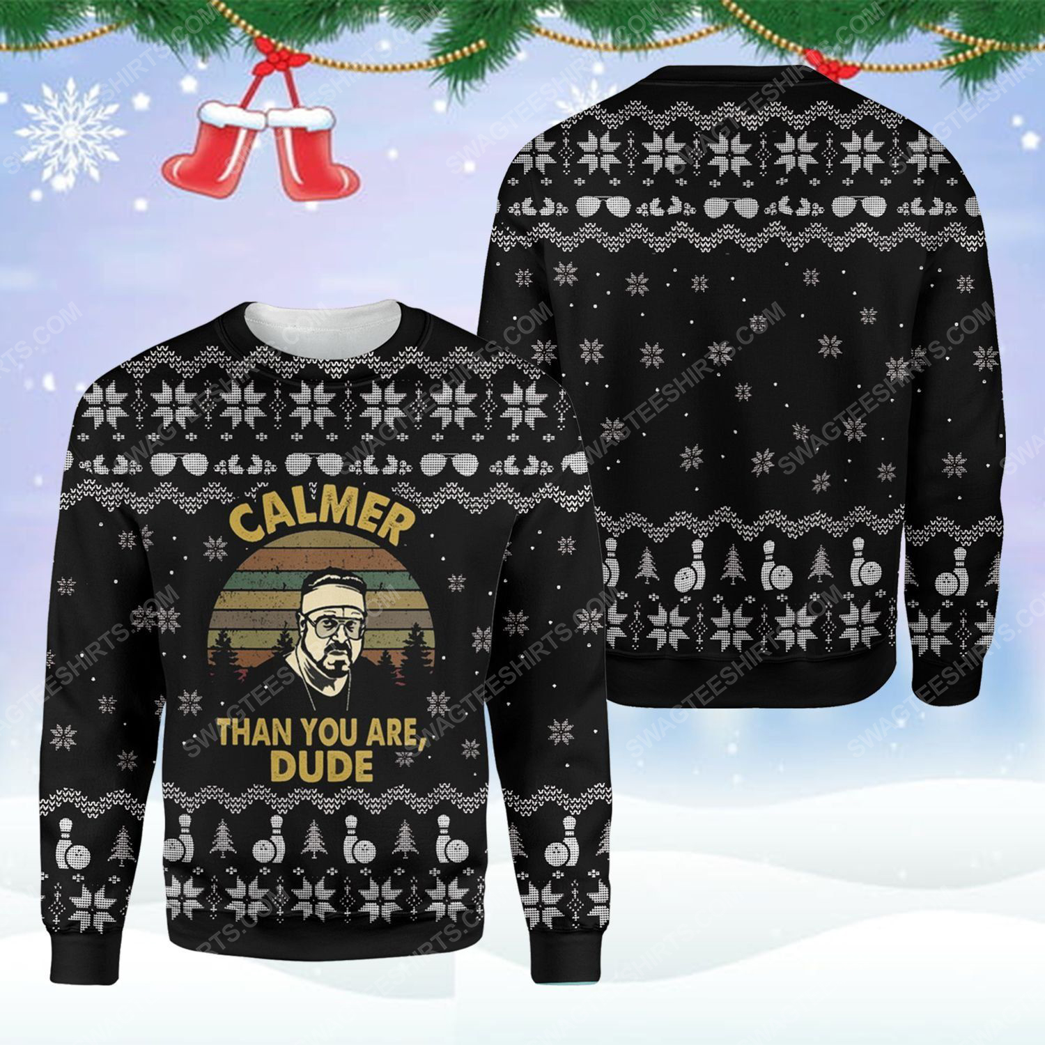 The big lebowski calmer than you are dude ugly christmas sweater - Copy (3)