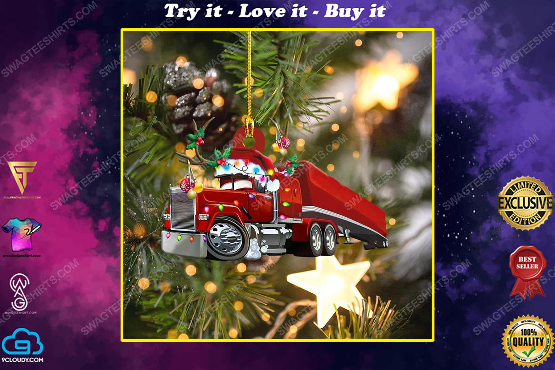 Truck and christmas light christmas gift ornament
