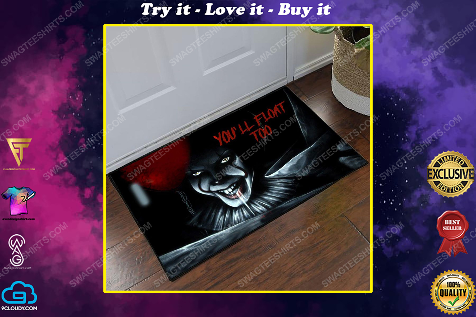 halloween it pennywise you'll float too doormat